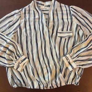 Pleione Sheer Stripe Wrap Blouse L